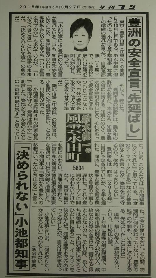 夕刊フジ 紙面